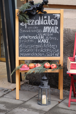 steiermark: Specialties from the island of Hvar in Croatia exposed in front of the store in Graz, Styria, Austria on January 10, 2015.