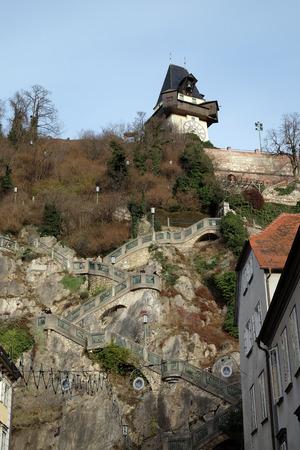 steiermark: Schlossberg (Castle Hill), mountain in Graz. Part of the UNESCO World heritage in Graz, Austria on January 10, 2015.