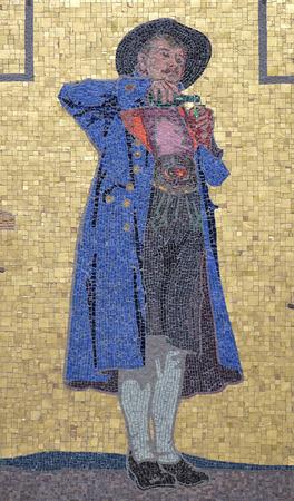 steiermark: Mosaic on the house facade, Glockenspielplatz in Graz, Styria, Austria on January 10, 2015.