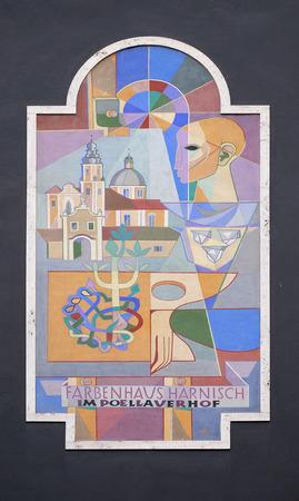 steiermark: Farbenhaus Harnisch fresco painting in Graz, Styria, Austria on January 10, 2015. Editorial