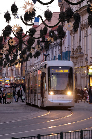 steiermark: Tramway in the downtown in Graz, Austria. Graz is the capital of federal state of Styria and the second largest city in Austria on January 10, 2015.