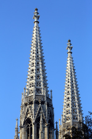 gabled: Votiv Kirche (The Votive Church). It is a neo-Gothic church located on the Ringstrabe in Vienna, Austria on October 10, 2014