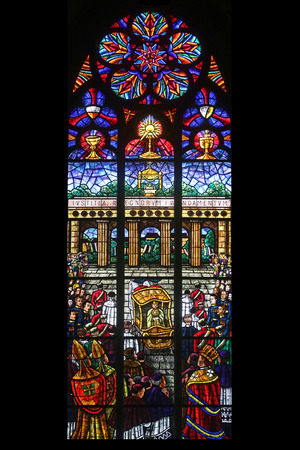 votive: Eucharistic Congress, Stained glass in Votiv Kirche (The Votive Church). It is a neo-Gothic church located on the Ringstrabe in Vienna, Austria on October 10, 2014