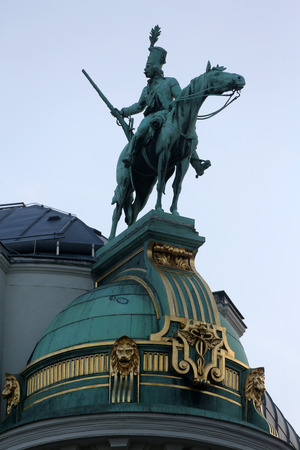 habsburg: Horseman, Architectural artistic decorations on Hofburg palace, Vienna; Austria. Hofburg was residence of Habsburg dynasty, rulers of Austro-Hungarian Empire. Vienna, Austria on October 10, 2014.