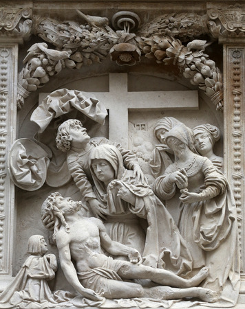 saint stephen cathedral: Lamentation of Christ Architectural details from the external walls of St Stephens Cathedral in Vienna, Austria on October 10, 2014. Editorial