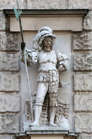 anton: Anton Schmidgruber: Landsknecht, on the facade of the Neuen Burg on Heldenplatz in Vienna, Austria on October 10, 2014.