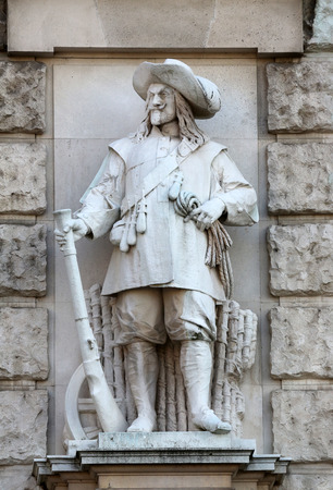 burg: Franz Koch: Soldier of Wallenstein, on the facade of the Neuen Burg on Heldenplatz in Vienna, Austria on October 10, 2014. Editorial