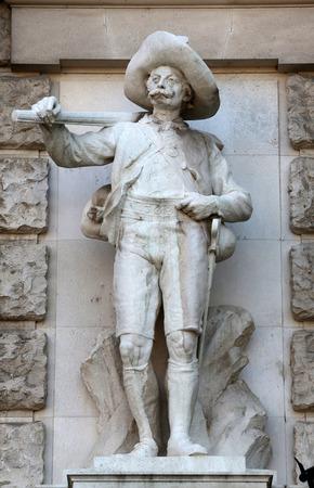 burg: Johann Silbernagl: Tiroler, on the facade of the Neuen Burg on Heldenplatz in Vienna, Austria on October 10, 2014.