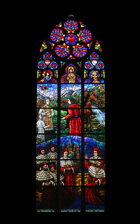 votive: Window dedicated to Rudolf I, Stained glass in Votiv Kirche (The Votive Church). It is a neo-Gothic church located on the Ringstrabe in Vienna, Austria on October 11, 2014