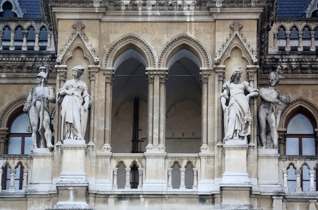 rathaus: Fragment of famous City Hall building (Rathaus) in Vienna.  Stock Photo