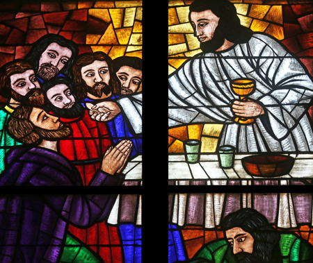 Last supper, Stained glass in Votiv Kirche (The Votive Church). It is a neo-Gothic church located on the Ringstrabe in Vienna, Austria on October 10, 2014