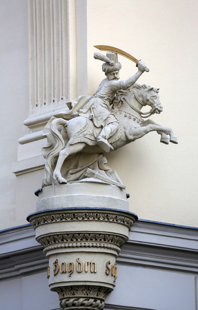 horseman: Horseman, Architectural artistic decorations on facade of house in Vienna, Austria on October 10, 2014. Stock Photo
