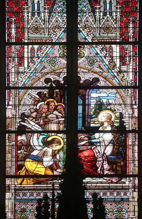 patron of europe: Saint Cecilia stained glass in Minoriten kirche in Vienna Austria on October 11 2014.
