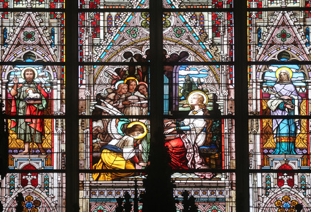 patron of europe: Saint Cecilia, stained glass in Minoriten kirche in Vienna, Austria on October 11, 2014.