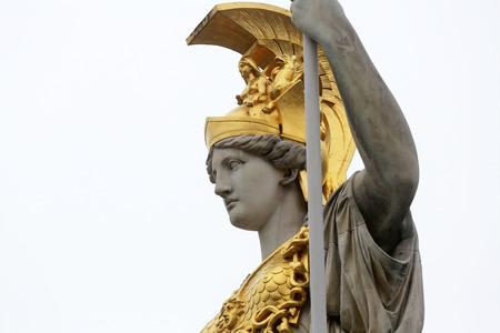 Pallas Athene greek goddess of wisdom in front of Austrian parliament, Vienna, Austria on October 11, 2014. photo