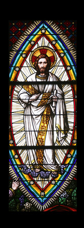 neogothic: Transfiguration on Mount Tabor, Stained glass in Votiv Kirche (The Votive Church). It is a neo-Gothic church located on the Ringstrabe in Vienna, Austria on October 11, 2014