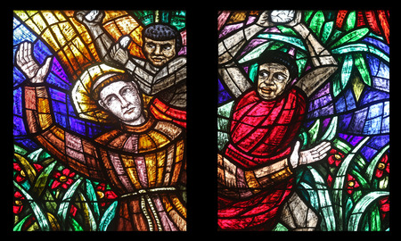 neogothic: Africa window, Stained glass in Votiv Kirche (The Votive Church). It is a neo-Gothic church located on the Ringstrabe in Vienna, Austria on October 11, 2014