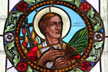 lawrence: Saint Lawrence of Rome stained glass window in Basilica Assumption of the Virgin Mary in Marija Bistrica Croatia Editorial