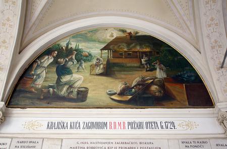 votive: Votive paintings, pilgrimage Sanctuary, Assumption of the Virgin Mary in Marija Bistrica, Croatia, on July 14, 2014