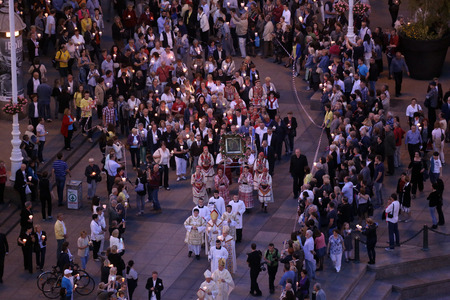 Procession through the streets of the city for a day Our Lady of the Kamenita vrata, patroness of Zagreb, led by Cardinal George Pell and Cardinal Josip Bozanic.
