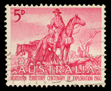 centenary: AUSTRALIA - CIRCA 1960: a stamp printed in the Australia shows The Overlanders by Sir Daryl Lindsay, Centenary of Exploration of Australias Northern Territory, circa 1960