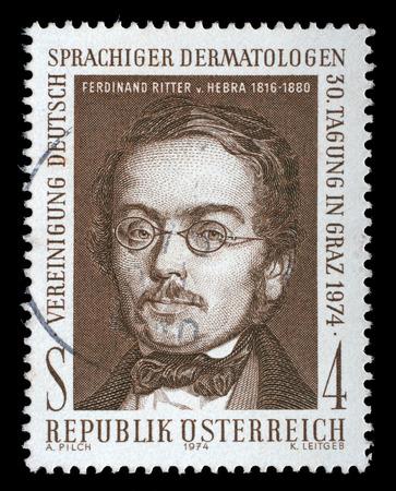 ferdinand: AUSTRIA - CIRCA 1974: stamp printed by Austria, shows Ferdinand Ritter von Hebra, circa 1974