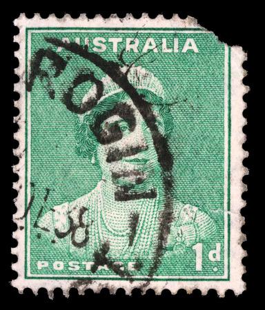 queen elizabeth: AUSTRALIA - CIRCA 1937: A stamp printed in Australia shows Queen Elizabeth II, circa 1937