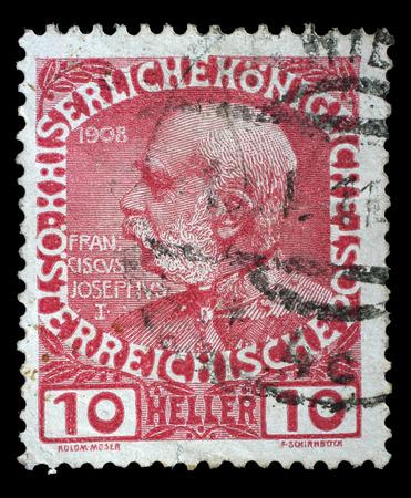 franz: AUSTRIA - CIRCA 1908: stamp printed by Austria, shows Franz Josef, circa 1908