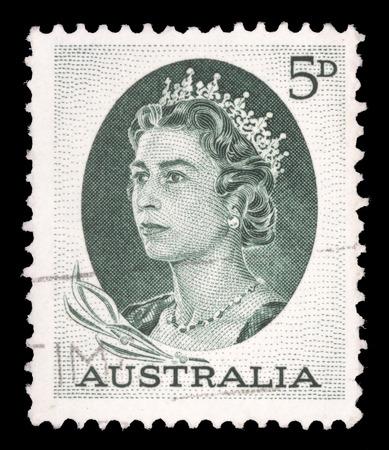 queen elizabeth ii: AUSTRALIA - CIRCA 1963: A stamp printed in Australia shows portrait of Queen Elizabeth II, circa 1963 Editorial