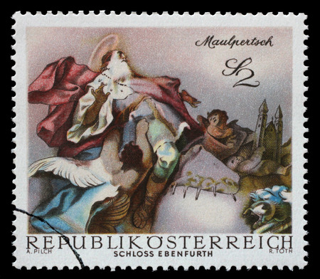 leopold: AUSTRIA - CIRCA 1968: a stamp printed in the Austria shows St. Leopold Carried into Heaven, by Maulpertsch, Baroque Fresco, Ebenfurth Castle Chapel, circa 1968 Editorial