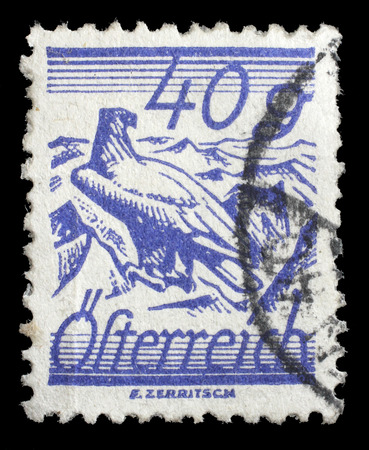 shouldered: stamp printed by Austria, shows White Shouldered Eagle Stock Photo