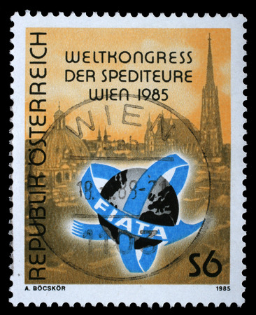 forwarding: AUSTRIA - CIRCA 1985: a stamp printed in the Austria shows View of Vienna, International Association of Forwarding Agents, World Congress, Vienna, circa 1985 Editorial