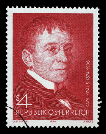 AUSTRIA - CIRCA 1974: a stamp printed in the Austria shows Karl Kraus, Poet and Satirist, circa 1974 Editorial