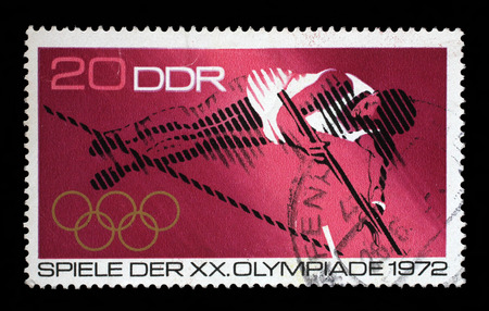 GDR-CIRCA 1972: A stamp printed in GDR shows Olympic Games - Munchen, Germany, circa 1972.