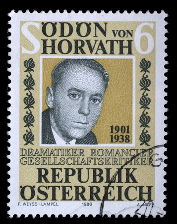 dramatist: AUSTRIA - CIRCA 1988: stamp printed by Austria, shows Odon von Horwath, circa 1988