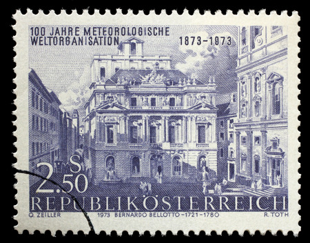 meteorological: AUSTRIA - CIRCA 1973: a stamp printed in the Austria shows Academy of Science, by Canaletto, Vienna, Centenary of International Meteorological Cooperation, circa 1973