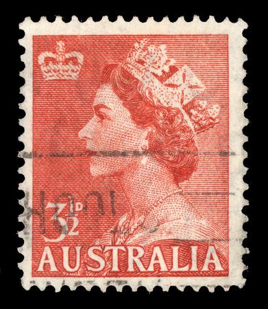 queen elizabeth ii: AUSTRALIA - CIRCA 1953: A stamp printed in Australia shows Queen Elizabeth II, circa 1953