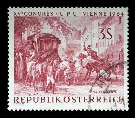 upu: AUSTRIA - CIRCA 1964: a stamp printed in the Austria shows Changing Horses at Bavarian Border, Painting by Friedrich Gauermann, UPU Congress, Vienna, circa 1964