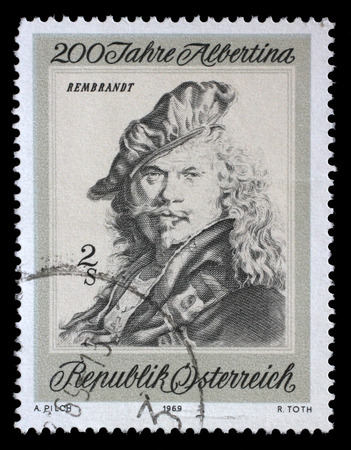 rembrandt: AUSTRIA - CIRCA 1969: a stamp printed in the Austria shows Self-portrait, by Rembrandt, Bicentenary of Etching Collection in the Albertina, Vienna, circa 1969 Editorial