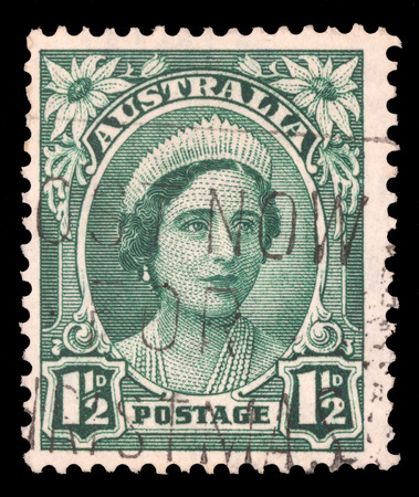 australia stamp: AUSTRALIA - CIRCA 1942: a stamp printed in the Australia shows Queen Elizabeth, Queen of England, circa 1942