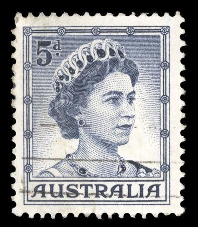 queen elizabeth ii: AUSTRALIA - CIRCA 1959: A stamp printed in Australia shows Portrait of Queen Elizabeth II, without inscriptions, from the series Queen Elizabeth II, circa 1959 Editorial