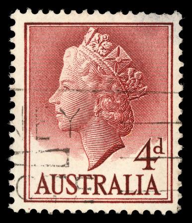 queen elizabeth ii: AUSTRALIA - CIRCA 1955: A stamp printed in Australia shows Queen Elizabeth II, circa 1955.