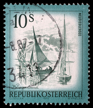 stempeln: A stamp printed in Austria from the Views issue shows Neusiedlersee lake