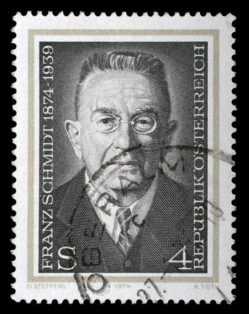 cellist: AUSTRIA - CIRCA 1974: a stamp printed in the Austria shows Franz Schmidt, Composer, Cellist and Pianist, circa 1974