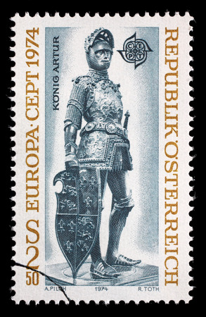 durer: AUSTRIA - CIRCA 1974: A stamp printed in Austria, shows a bronze figure of King Arthur of England by Albrecht Durer and Peter Vischer, Hofkirche, Innsbruck, circa 1974