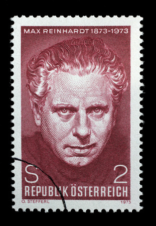philatelist: AUSTRIA - CIRCA 1973: A stamp printed in Austria, is dedicated to the 100th anniversary of Max Reinhardt, Theatrical Director, circa 1973 Editorial