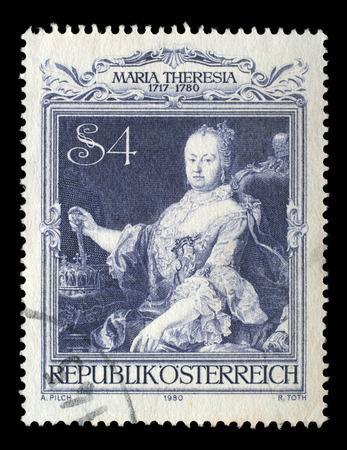 empress: AUSTRIA - CIRCA 1980: stamp printed by Austria, shows Empress Maria Theresia portrait by Martin van Meytens, circa 1980 Editorial