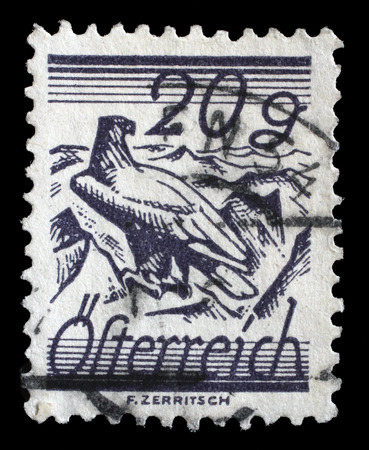 shouldered: stamp printed by Austria, shows White Shouldered Eagle Editorial