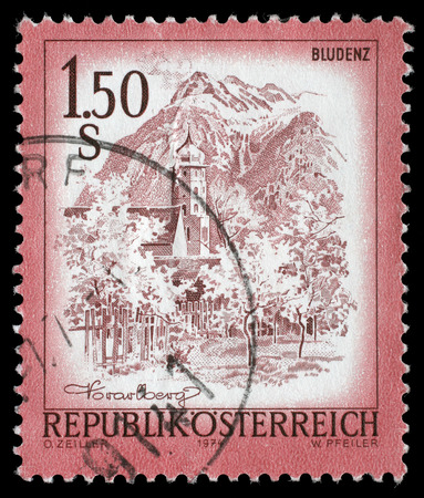 stempeln: A stamp printed in Austria shows Bludenz, , from the series Sights in Austria