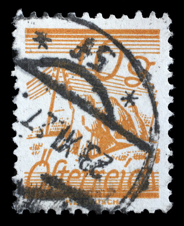 depicted: A stamp printed in Austria, is depicted Fields Crossed by Telegraph Wires